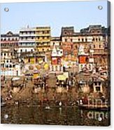 Ghats In The River Ganges At Varanasi In India Acrylic Print