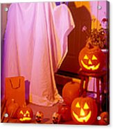 Ghost With Pumpkins Acrylic Print by Garry Gay