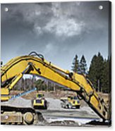 Giant Bulldozers In Action Acrylic Print