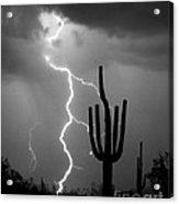 Giant Saguaro Cactus Lightning Strike Bw Acrylic Print