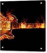 Gibson Les Paul Guitar on Fire Acrylic Print