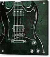 Gibson Sg Standard Green Grunge With Skull Acrylic Print