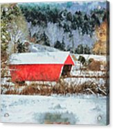 Gifford Covered Bridge In Winter Acrylic Print