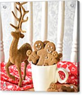 Gingerbread Family At Christmas Acrylic Print