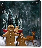 Gingerbread Family In Snow Acrylic Print