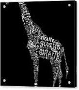 Giraffe Is The Word Acrylic Print