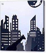 Giraffe Walking Around The City Acrylic Print