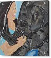 Girl And Baby Elephant Acrylic Print