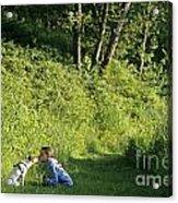 Girl And Dog On Trail Acrylic Print