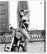 Girl And Harley-davidson Acrylic Print