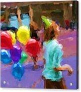 Girl And Her Balloons Acrylic Print