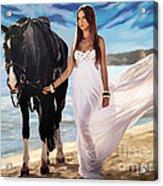Girl And Horse On Beach Acrylic Print