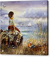 Girl And The Ocean Sitting On The Rock Acrylic Print