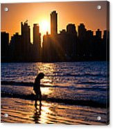 Girl And The Sunset Acrylic Print