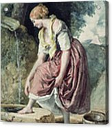 Girl At A Conduit Acrylic Print