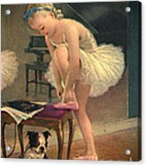 Girl Ballet Dancer Ties Her Slipper With Boston Terrier Dog Acrylic Print