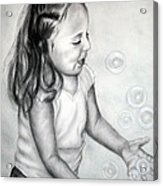 Girl Blowing Bubbles II Acrylic Print
