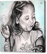 Girl Blowing Bubbles Acrylic Print