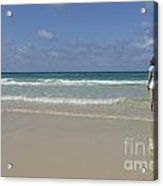 Girl Contemplating Ocean From Beach Acrylic Print