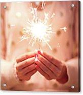 Girl Holding Small Sparkler Acrylic Print