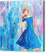 Girl In Blue Dress Acrylic Print