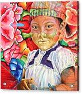 Girl In Flowers Acrylic Print