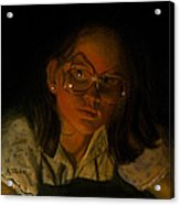 Girl In Glasses In Candlelight Acrylic Print