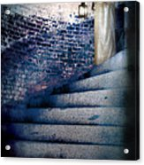 Girl In Nightgown On Circular Stone Steps Acrylic Print
