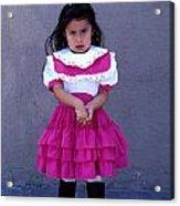 Girl In Pink Dress Acrylic Print by Mark Goebel