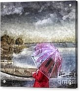 Girl In Red Coat Acrylic Print