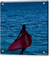 Girl In Red Float Acrylic Print
