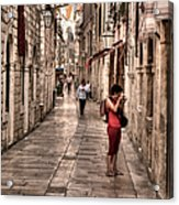 Girl In Red In The White Streets Of Dubrovnik Acrylic Print