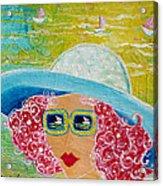 Girl In Sun Hat Acrylic Print