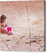 Girl In The Sand Acrylic Print