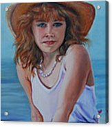 Girl In The Straw Hat Acrylic Print