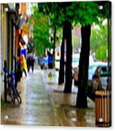 Girl In The Yellow Raincoat Rainy Stroll Through Streets Of The City Montreal Scenes Carole  Acrylic Print