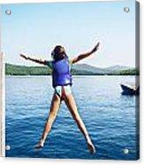 Girl Jumps In The Lake Acrylic Print