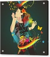 Girl Making Soap Bubbles,rainbow And Acrylic Print