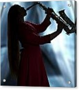 Girl Musician Playing Saxophone In Silhouette Color 3353.02 Acrylic Print