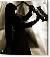 Girl Musician Playing Saxophone In Silhouette Sepia 3353.01 Acrylic Print