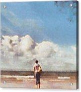 Girl On Beach Acrylic Print