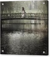 Girl On Bridge Acrylic Print