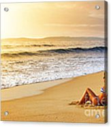 Girl On Seashore  Acrylic Print