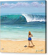 Girl On Surfer Beach Acrylic Print