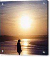 Girl On The Beach At Sunrise Acrylic Print