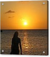 Girl Silhouetted On A Beach At Sunset Acrylic Print