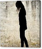 Girl Walking In Front Of Cement Wall Acrylic Print