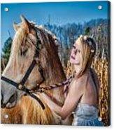 Girl With A Horse Acrylic Print