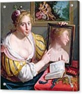 Girl With A Mirror, An Allegory Acrylic Print