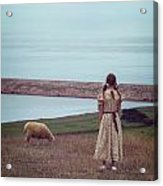 Girl With A Sheep Acrylic Print by Joana Kruse